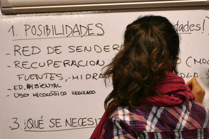 Carmen writes on whiteboard during social innovation workshop